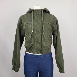 BDG Green Cotton Zip Up Cropped Jacket Size M